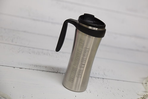 Etched Stainless steel travel coffee mug personalized