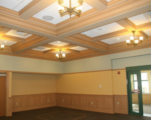 Raise Panel Wainscot, Crown, Beams