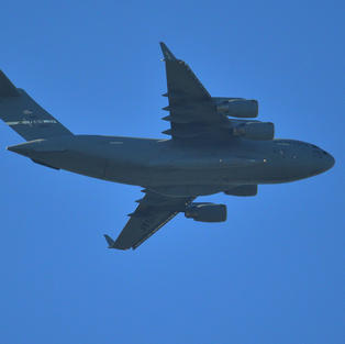 USAF C-17 support of Air Force One - over my house 2017