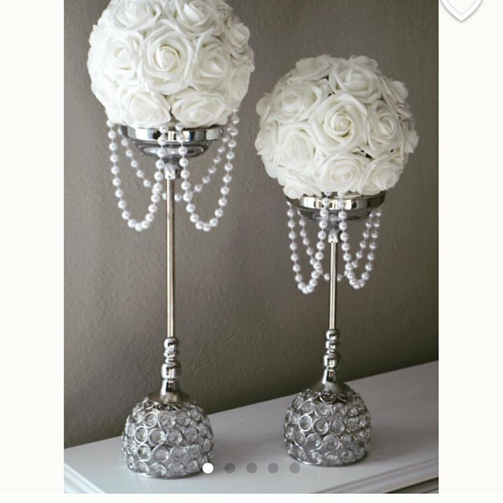 #white #ball #flower with #pearl #drapin