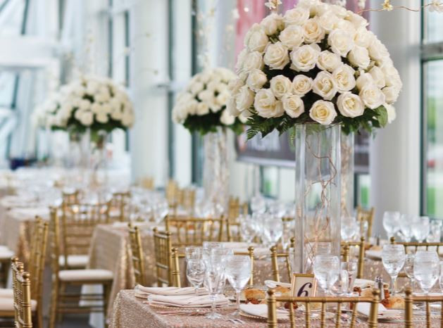 Ivory Roses and Table Set up