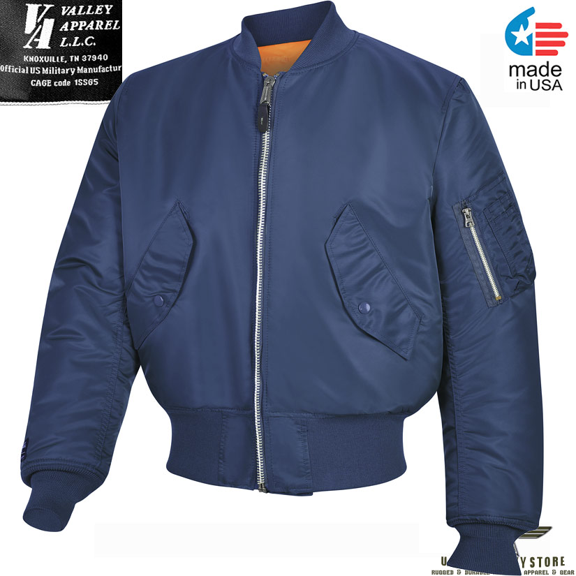 4d2f1268 Valley Apparel MA-1 Flight Jacket - Replica Blue / Made in USA