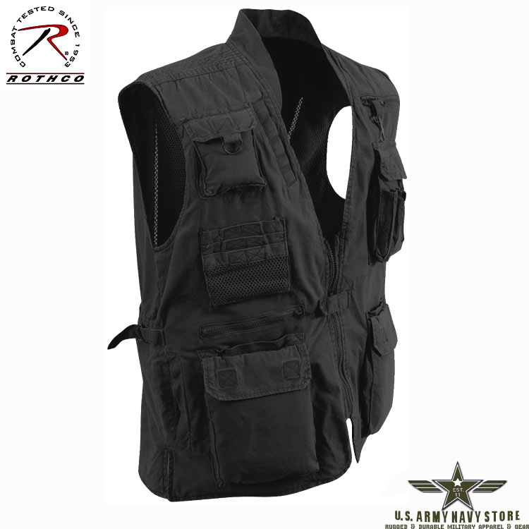 Deluxe Safari Outback Vest - Black