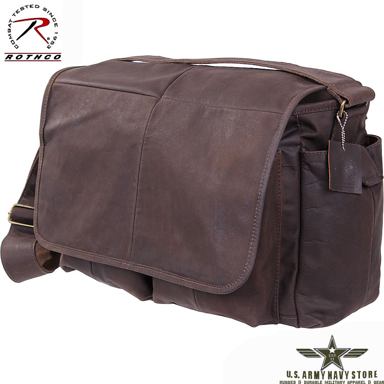 Brown Leather Classic Messenger Bag