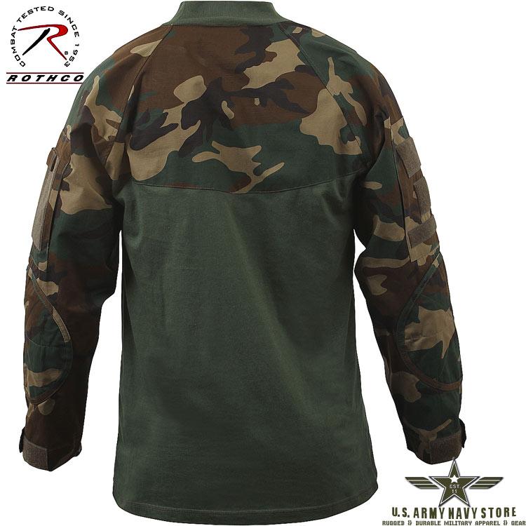 Military Combat Shirt Woodland Camo
