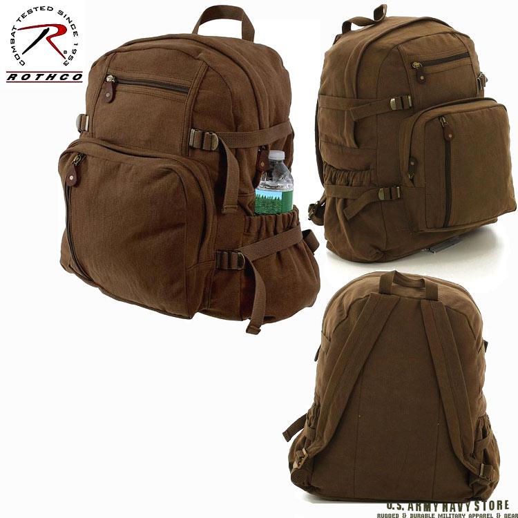 Jumbo Vintage Canvas Backpack - Brow