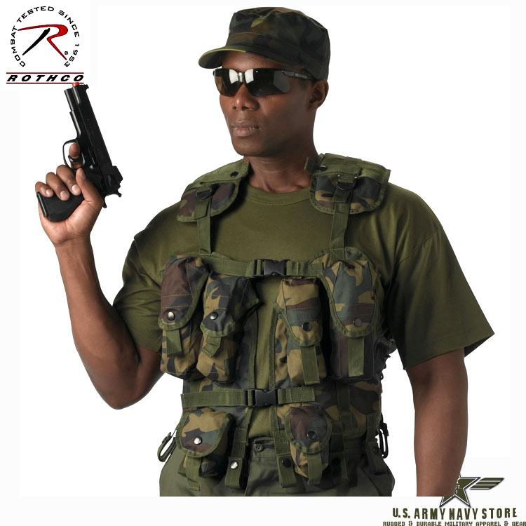 Tactical Assault Vest Woodland Camo