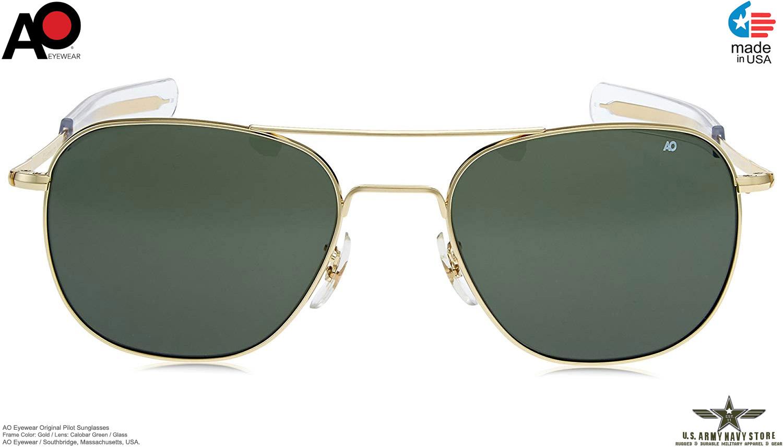 c9d02c8e49e6 AO Eyewear Original Pilot Sunglasses (Green Glass Non-Polarized, Gold)