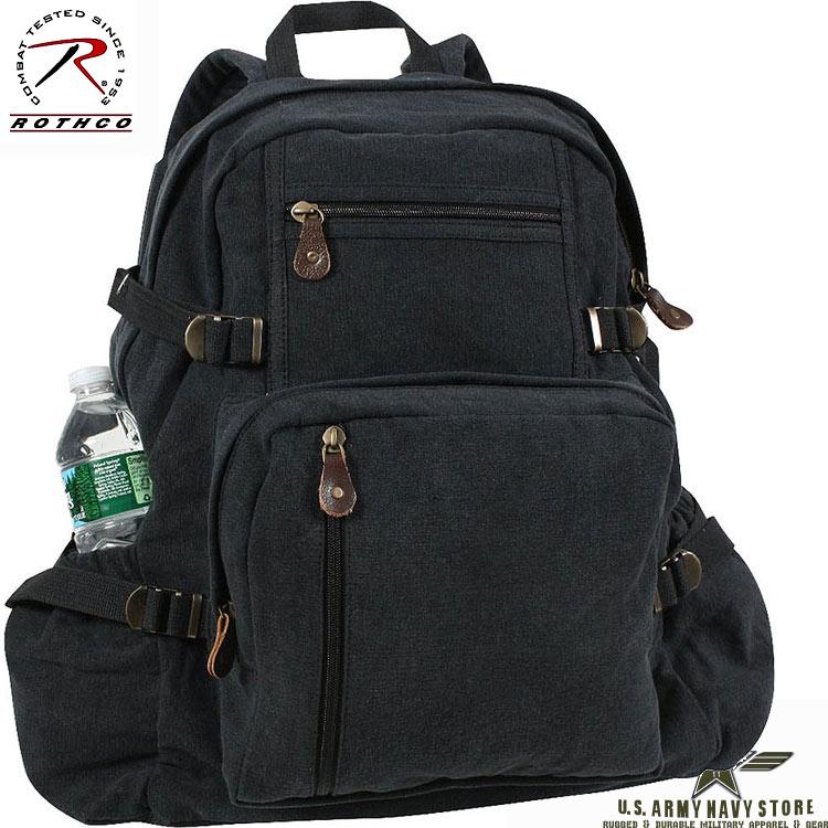 Jumbo Vintage Canvas Backpack Black