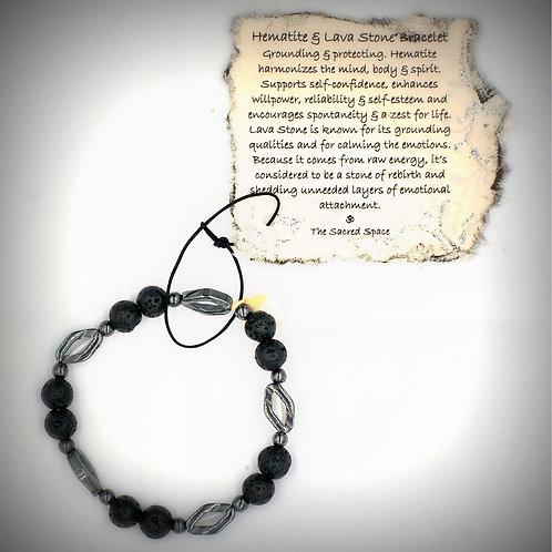 Hematite & Lava Stone Bracelet #5