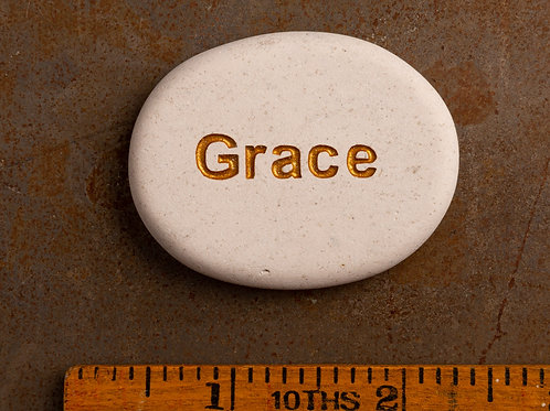 Grace Word Stone - Gold on White