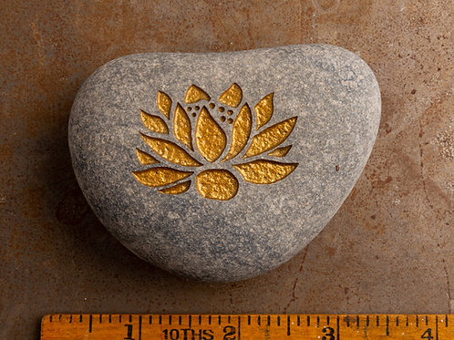 Lotus Flower - Gold on Gray