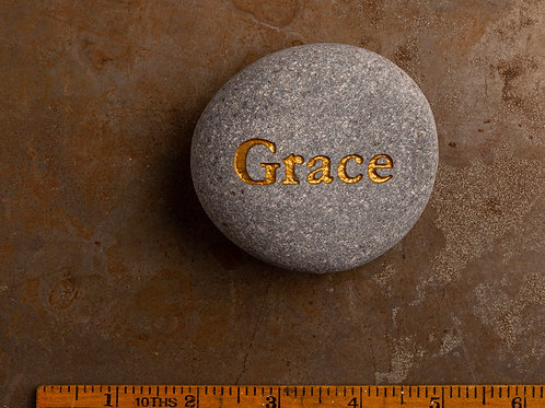 Grace Word Stone - Gold on Gray