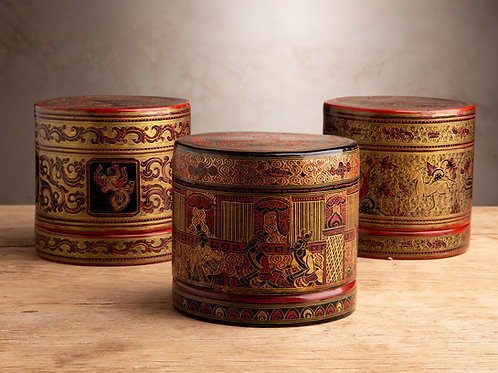 BETEL NUT Laquer Cylindrical Box FROM BURMA
