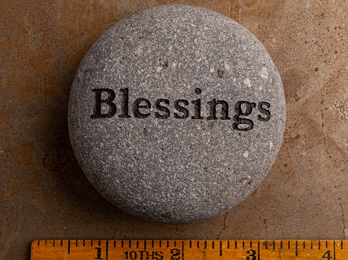 Blessings Word Stone - Black on Gray