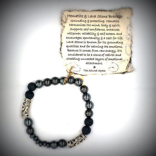 Hematite & Lava Stone Bracelet #1