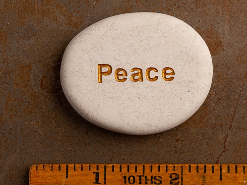 Peace Word Stone - Gold on White