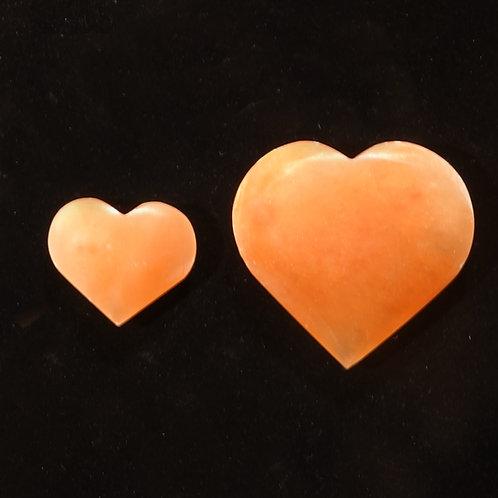 Peach Selenite Heart