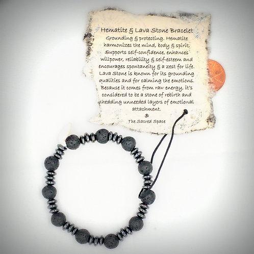 Hematite & Lava Stone Bracelet #3