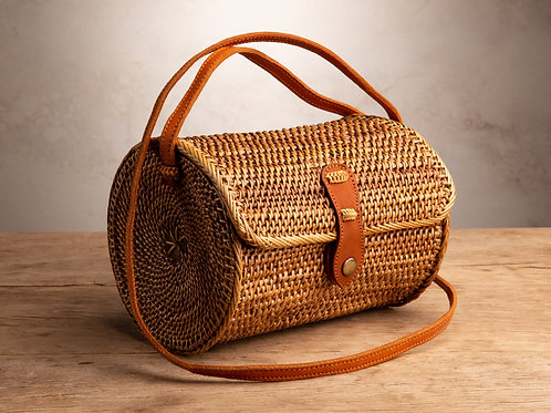 Cylinder Ata Purse - Natural Snap