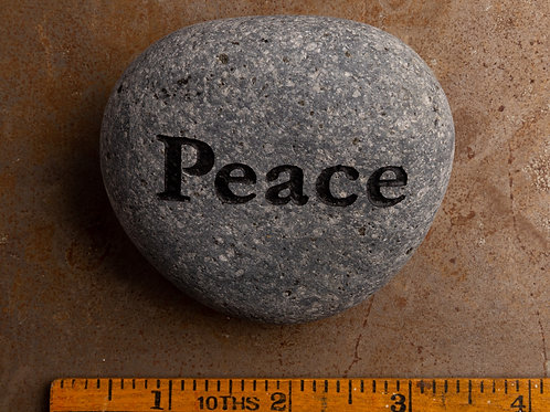 Peace Word Stone -Black on Gray