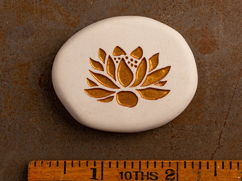 Lotus Flower - Gold on White