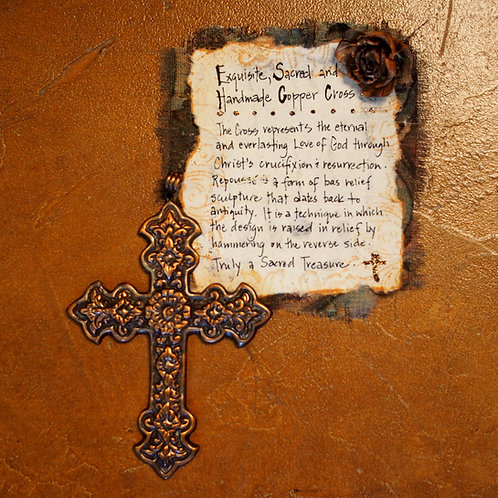 Exquisite, Sacred and Handmade Copper Cross - large