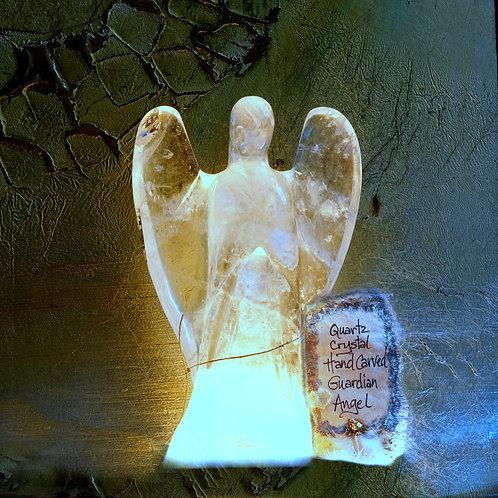Quartz Crystal Handcarved Guardian Angel