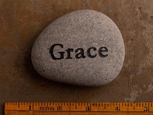 Grace Word Stone - Black on Gray