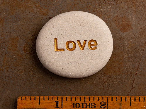 Love Word Stone - Gold on White