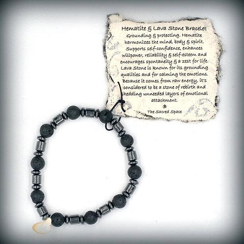 Hematite & Lava Stone Bracelet #2