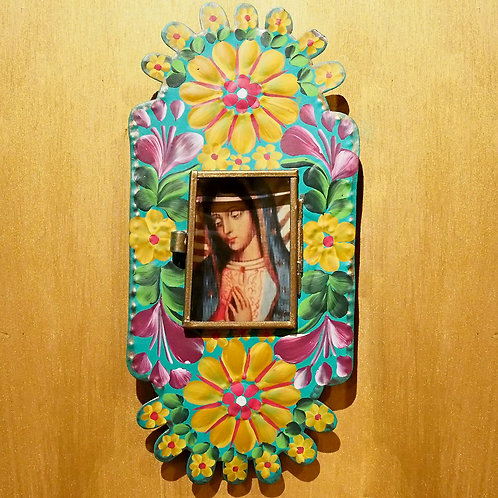 Hand Painted Tin Nicho Frame with Our Lady of Guadalupe