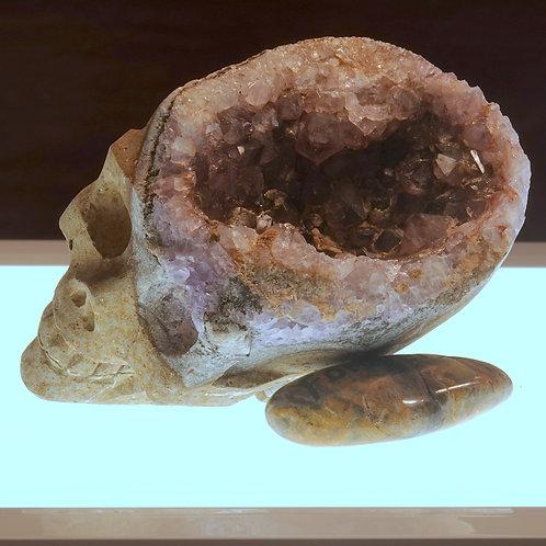 Amethyst Geode Hand Carved Skull