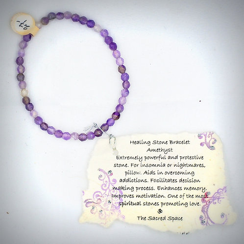 Faceted Amethyst Healing Stone Bracelet