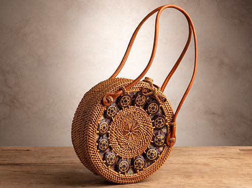 Round Ata Purse with Wooden Discs - Natural Loop