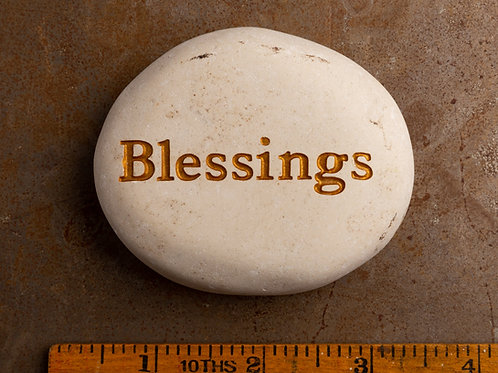 Blessings Word Stone - Gold on White