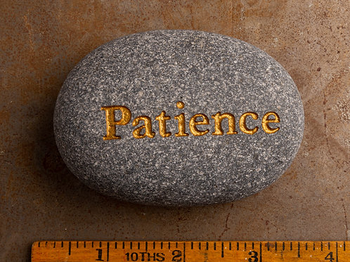 Patience Word Stone - Gold on Gray