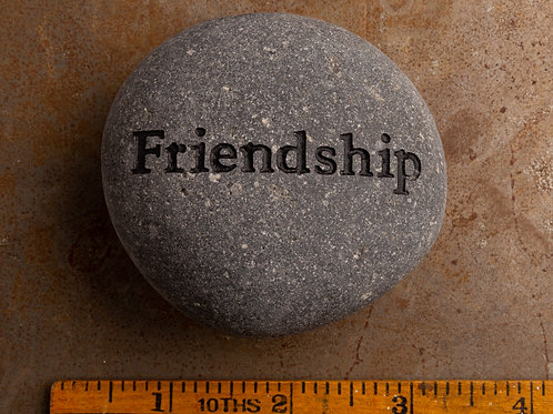 Friendship Word Stone - Black on Gray