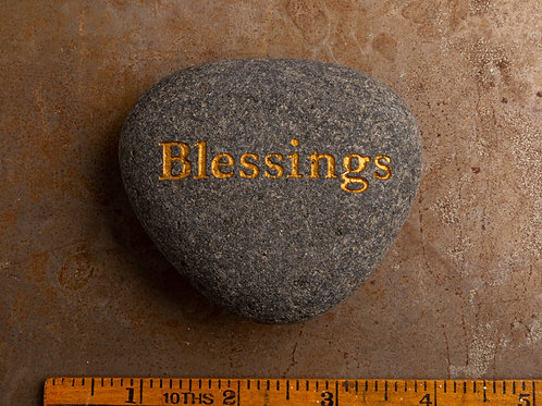 Blessings Word Stone - Gold on Gray