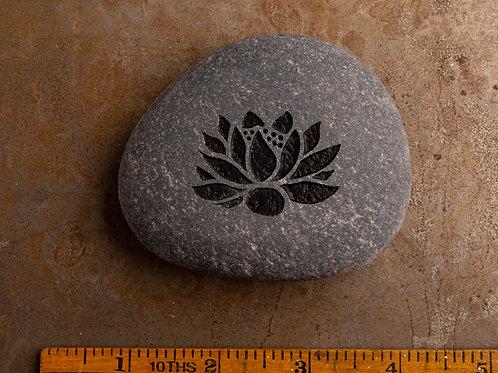 Lotus Flower - Black on Gray