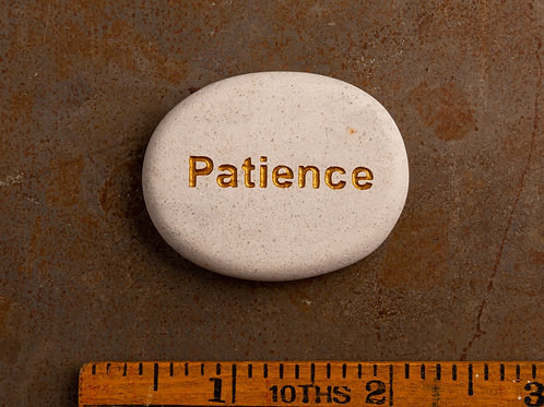 Patience Word Stone - Gold on White