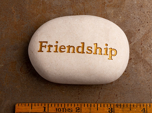 Friendship Word Stone - Gold on White