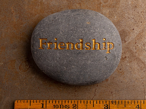 Friendship Word Stone - Gold on Gray
