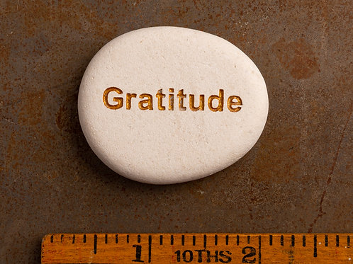 Gratitude Word Stone - Gold on White