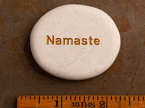 Namaste Word Stone - Gold on White