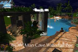 Cave, bar, waterfall, dual flume sli