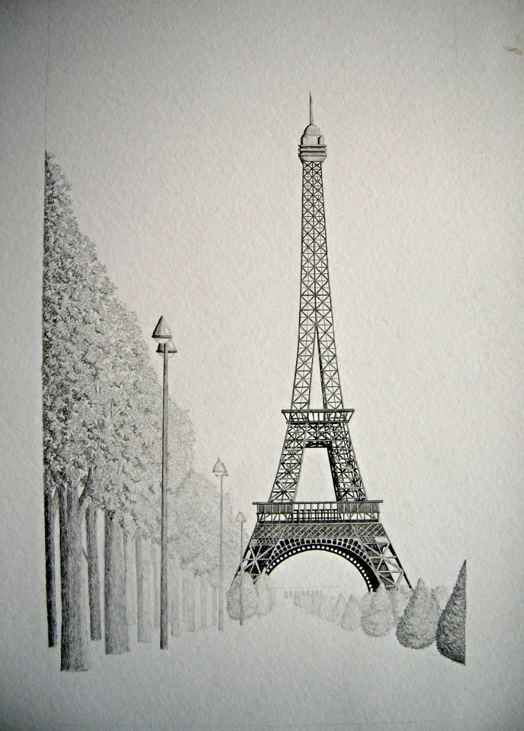 Eiffel Tower sketch black and white
