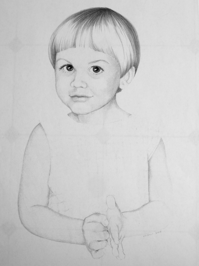 Toddler child sketch black and white
