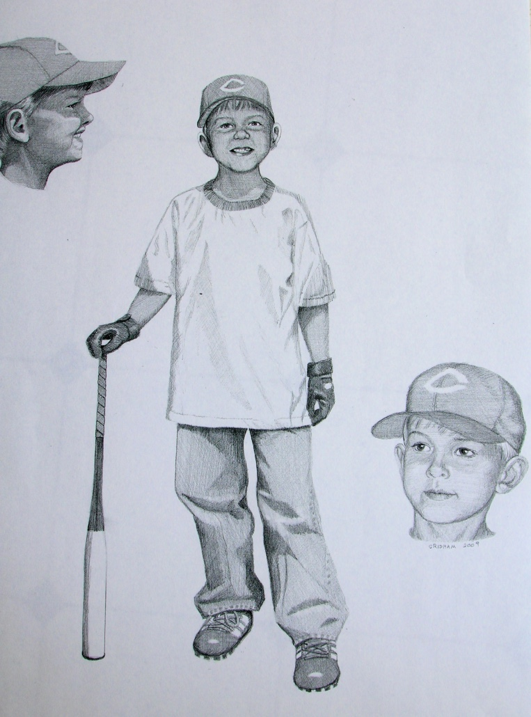 Child baseball sketch