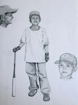 Child baseball sketch